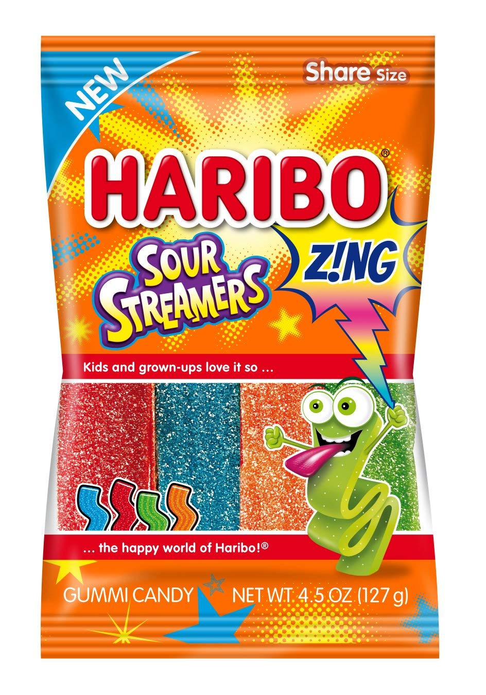 Haribo Gummi Candy, Sour Streamers, 4.5 Ounce