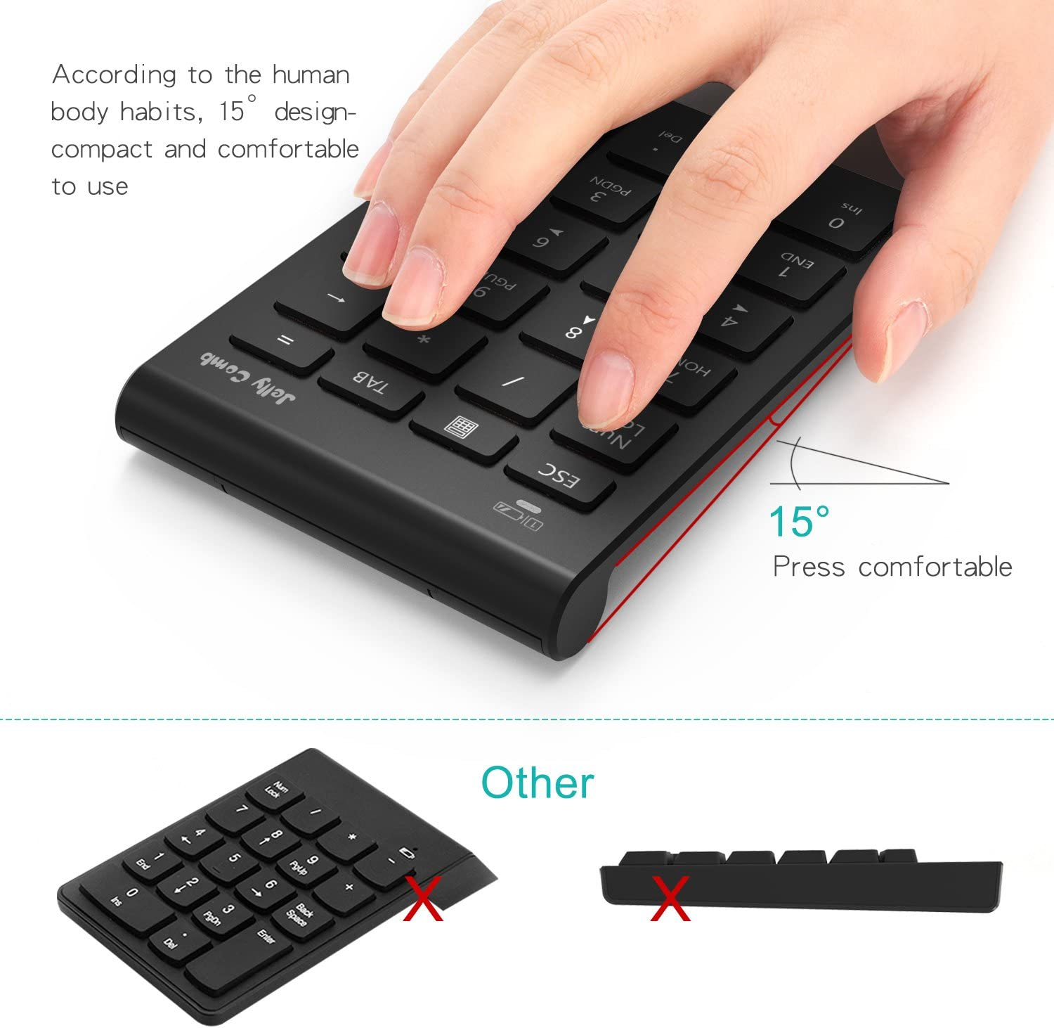 Big Print Letters Jelly Comb Portable Slim USB Number Pad Keyboard with Multi-Function Keypad for Laptop Desktop PC Notebook Full Size 23 Keys Numpad Slim Keypad - White + Silver Numeric Keypad