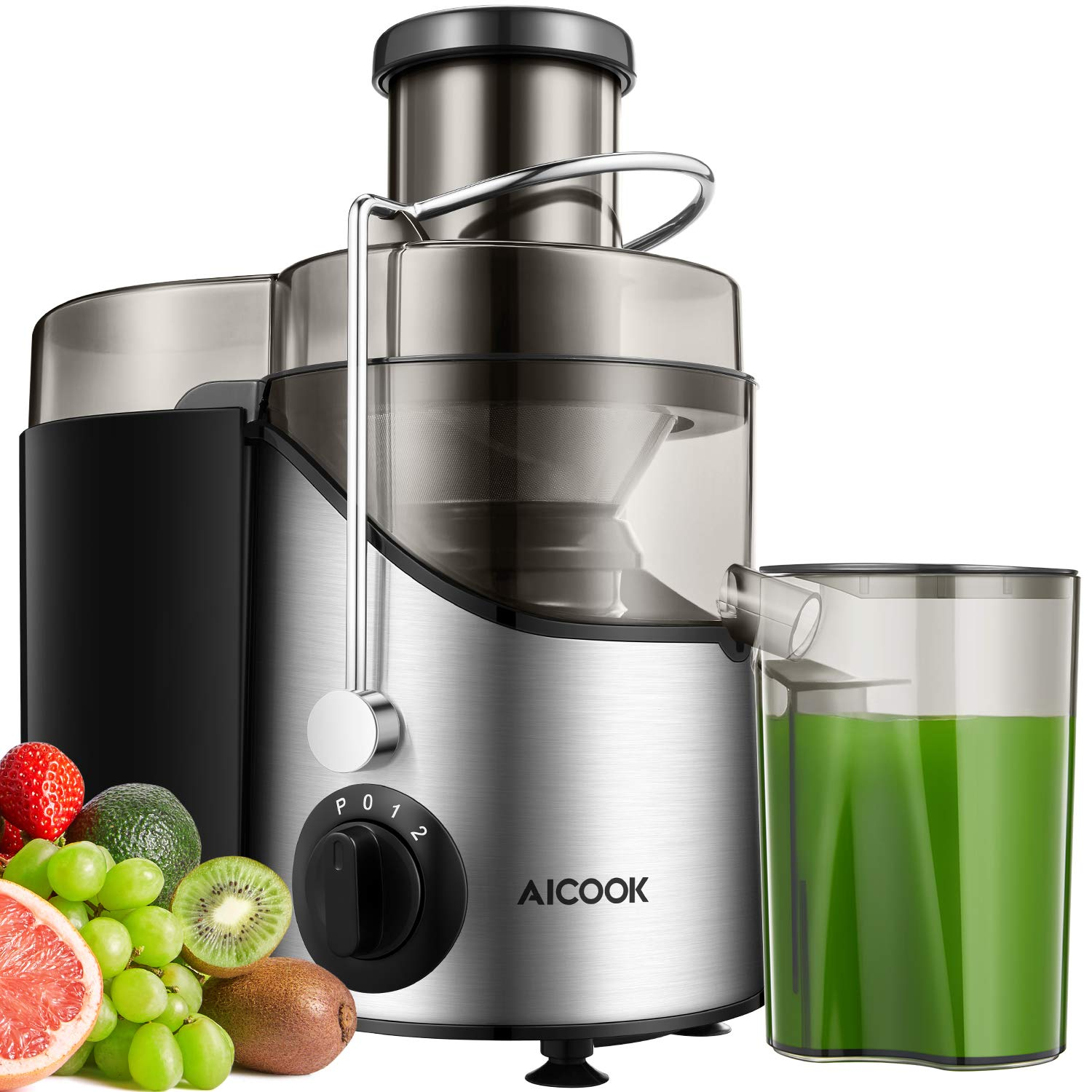 Juicer Machine, Aicook Juice Extractor with 3'' Wide Mouth, Non-Slip Feet, 3 Speed Centrifugal Juicer for Fruits and Vegs, BPA-Free