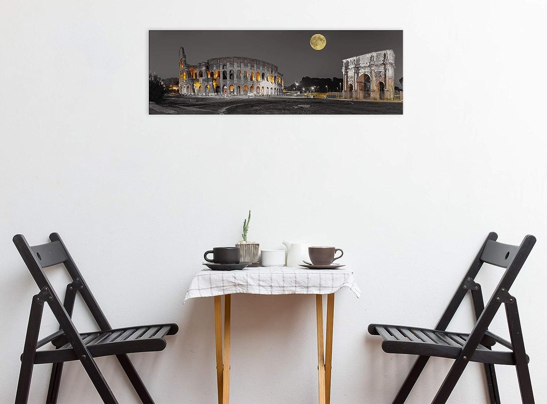 Cuadro en Lienzo Tama/ño: 70 x 25 cm Impresi/ón art/ística Decoracion de Pared Roma el Coliseo Gris Im/ágen Panor/ámica Revolio