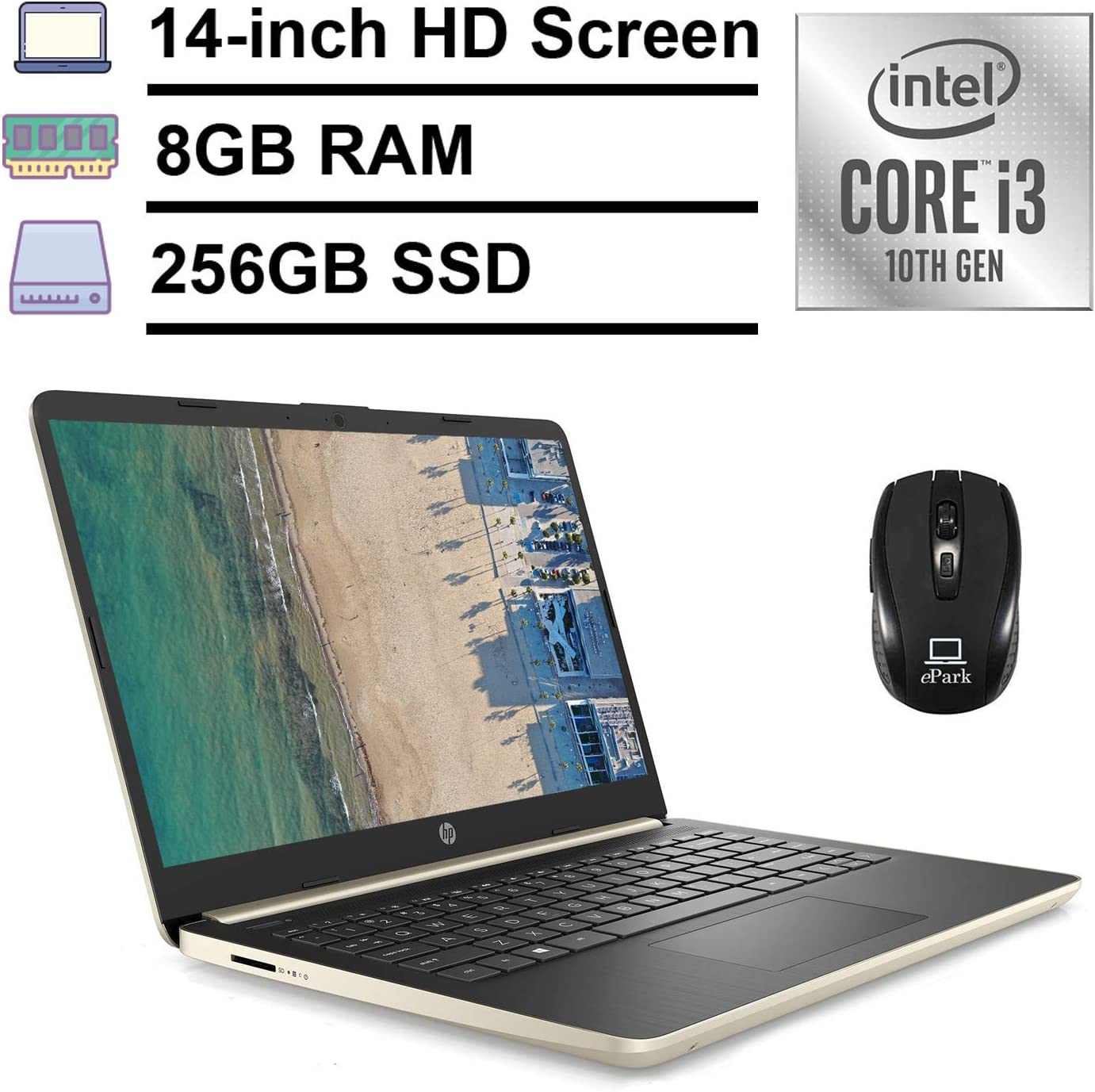 "2020 HP 14"" Thin & Light High Performance Laptop, HD Micro-Edge Display, 10th Gen Intel Dual-Core i3-1005G1 (>i5-7200U) 8GB RAM 256GB M2 SSD Type-C Webcam Win 10 (Gold) + ePark Wireless Mouse"