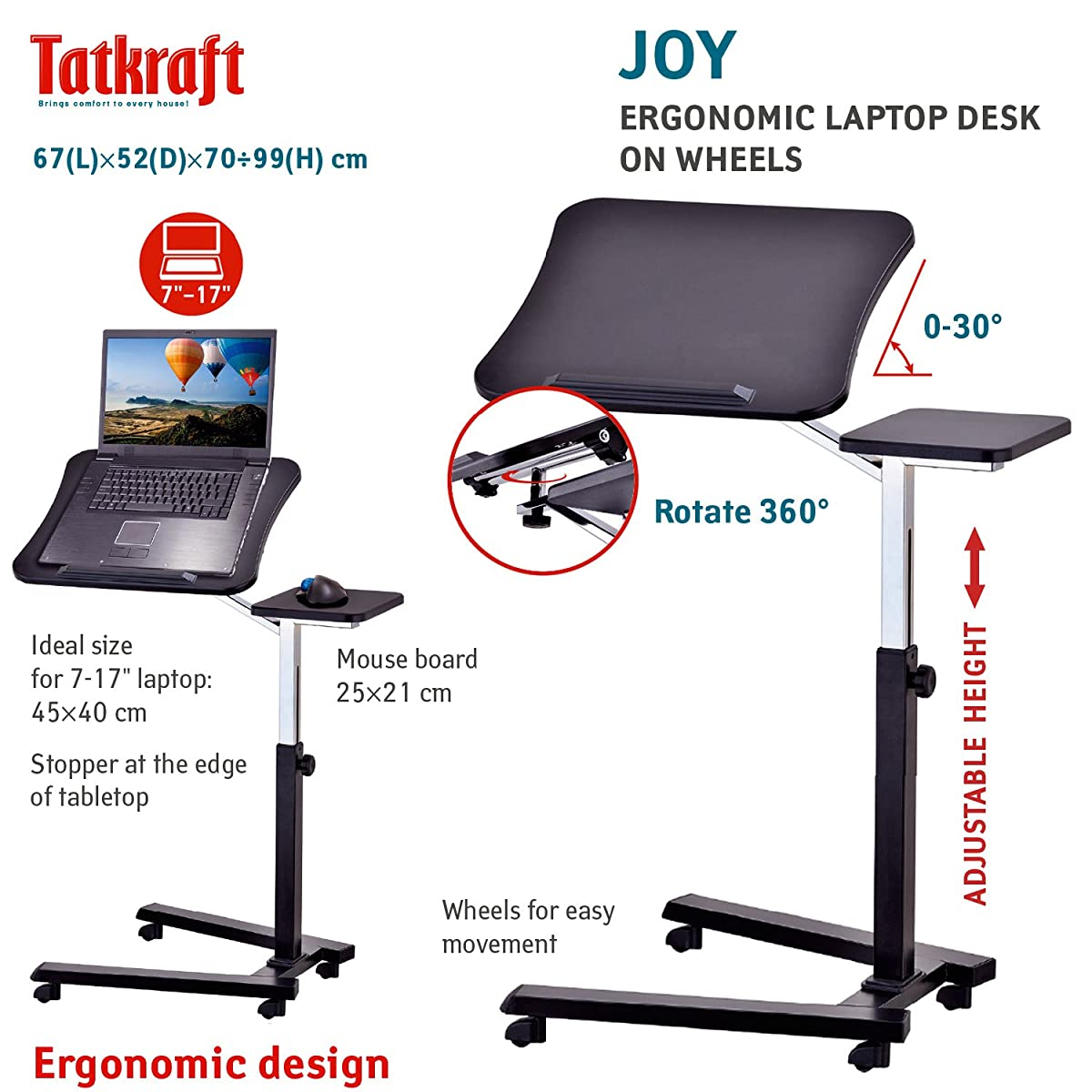 Tatkraft Joy Portable Adjustable Folding Laptop Stand Table Black