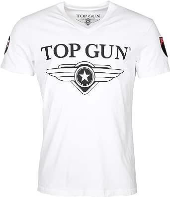 Top Gun Hyper, camiseta de cuello en V para hombre, con logo y parches