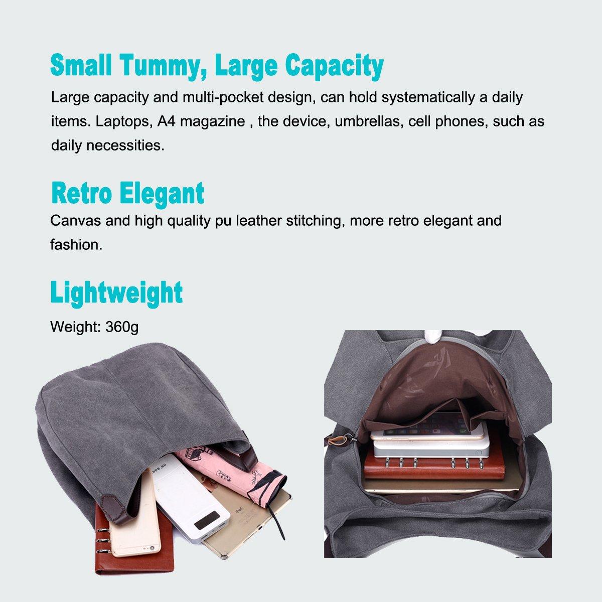 Amazon.com: DOURR bolso de mano de lona de algodón con ...