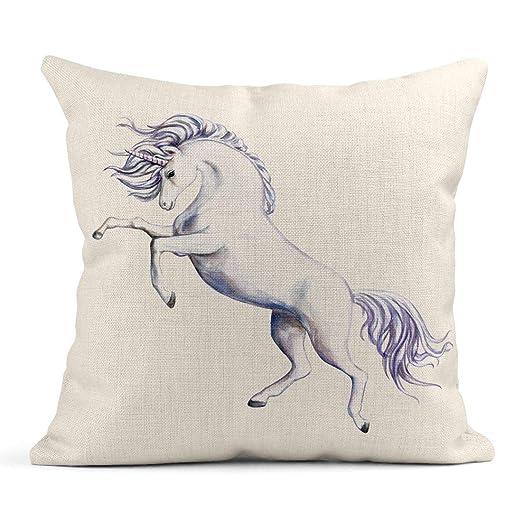Kinhevao Cojín Azul Animal Corriendo Blanco Unicornio Hada ...