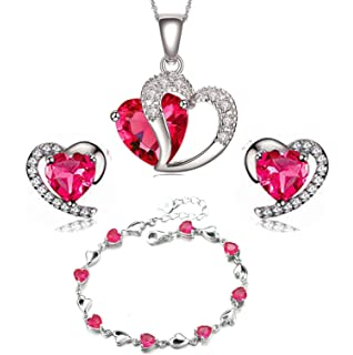 findout ladies Amethyst red pink blue white Crystal Heart sterling Silver earrings , for women girls.