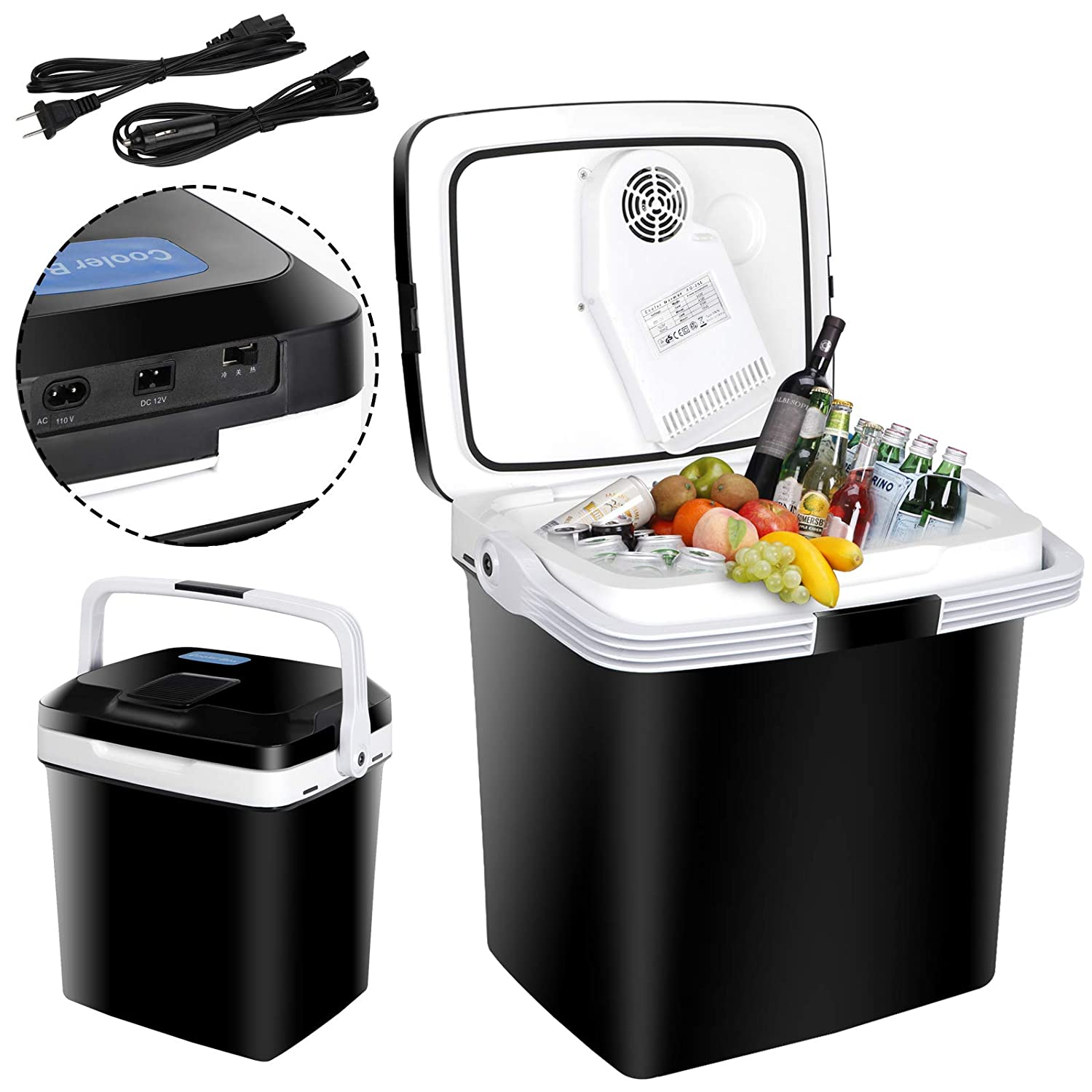ZENY Mini Fridge Electric Cooler and Warmer for Car- 12V DC Electric Cooler Car Refrigerator with Automatic Locking Handle, 28 Quart Portable Car Fridge for Travel and Camping