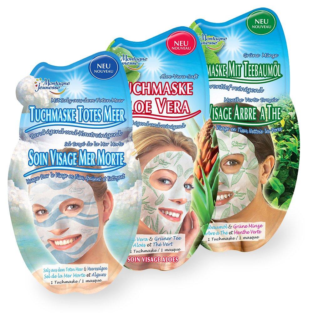 Montagne Jeunesse Tuchmaske mit natürlichen Inhaltsstoffen - 3er Set - Gemischt (Totes Meer / Teebaumöl / Aloe Vera))