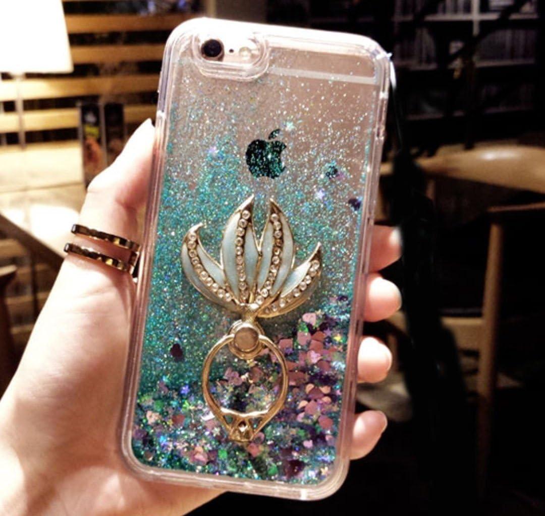iPhone 5/5S/SE/5C Case,iPhone 5/5S/SE/5C Liquid Mermaid Kickstand Case,Goodaa Luxury Bling Elegant Mermaid Fish Tail Kickstand Shiny Liquid Glitter Quicksand Case for iPhone 5/5S/SE/5C(Green)