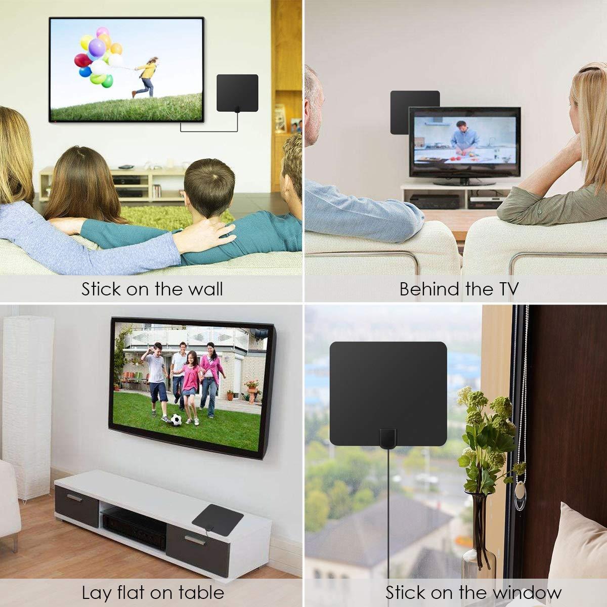 Jinxuny Antena Interior de TV HDTV Digital HDTV con Amplificador de Antena TV Alcance de 50 Millas Delgada