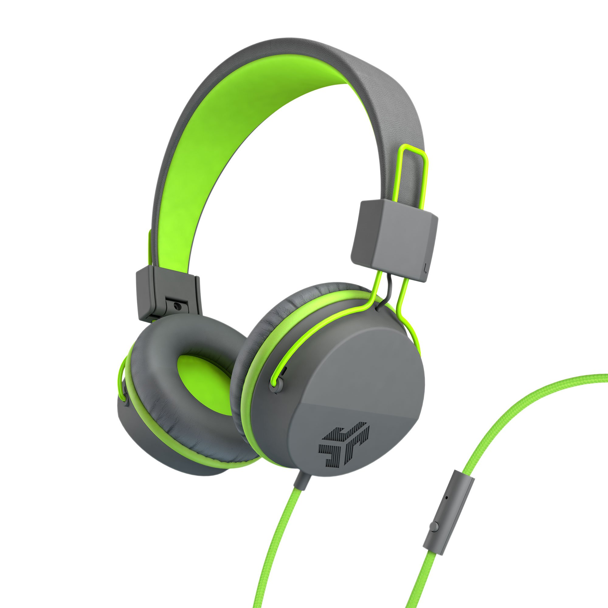 JLab Audio Neon Headphones On-Ear Feather Light, Ultra-plush Eco Leather, 40mm drivers, GUARANTEED FOR LIFE - Graphite/Lime by JLAB