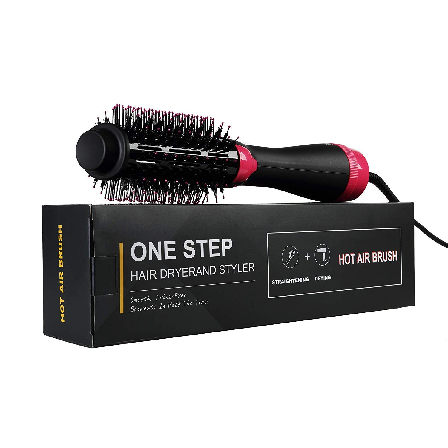 Hot Air Brush - One Step Hair Dryer & Volumizer, 3 in 1 Styling Brush Styler, Ceramic Electric Blow Dryer, Negative Ion Hair Straightener Brush, Curly Hair Comb with Anti-Scald Feature