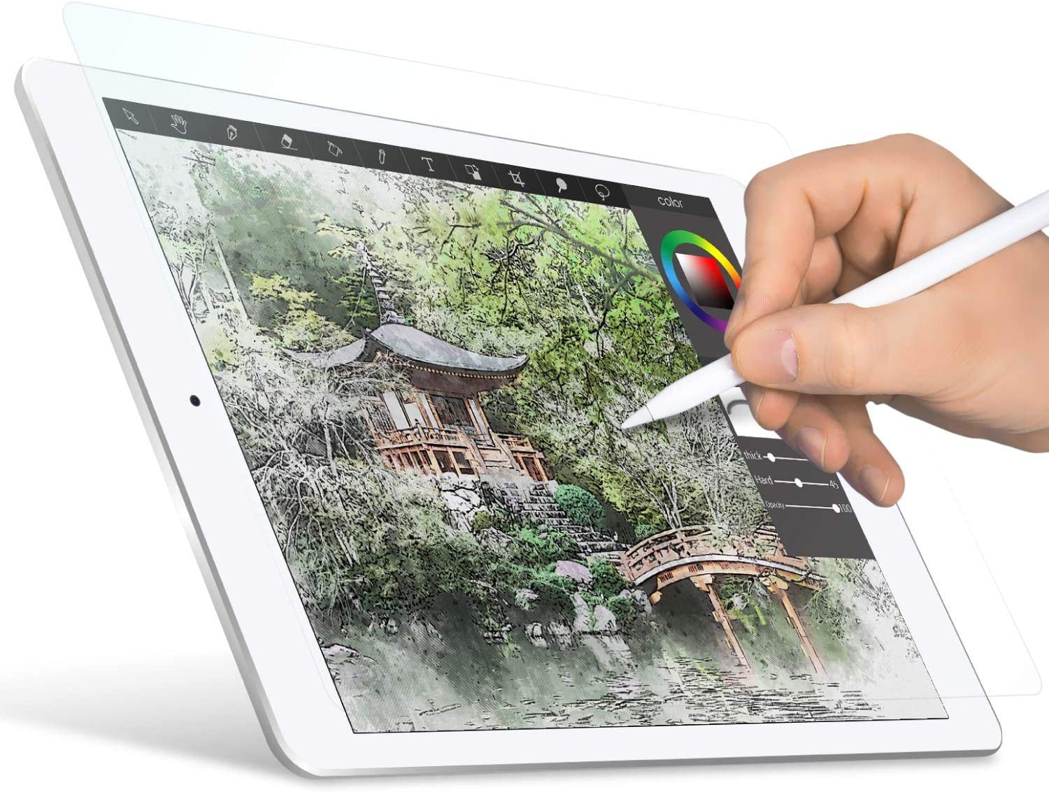 """ELECOM Paper-Feel Screen Protector Designed for Drawing, Anti-Glare Scratch-Resistant Bubble-Free, Compatible with 7.9"""" iPad Mini 2019 (TB-A19SFLAPLL)"""