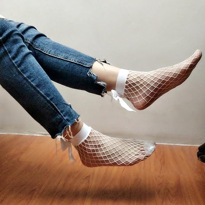 Mesh Lace Calcetines de algodón Calcetines Antideslizantes Calcetines de Deporte Calcetines Térmicos para Adult Unisex Calcetines (Blanco, talla única): ...