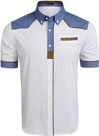 LAmore Camisa Hombre Manga Corta Patchwork Casual Estilo de Colegio Verano: Amazon.es: Ropa y accesorios