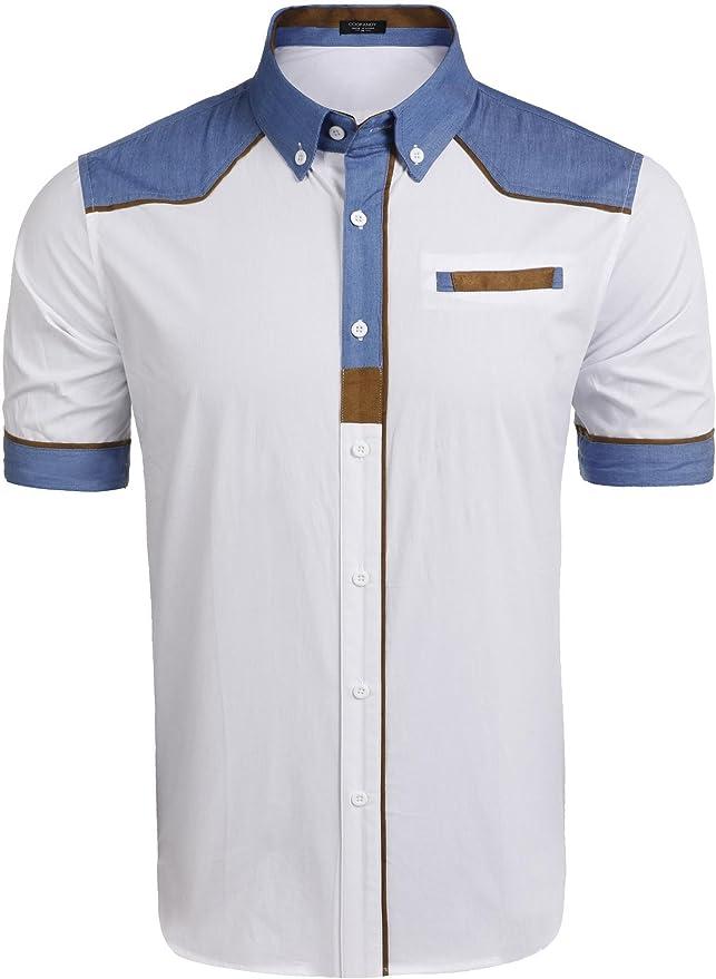 COOFANDY Camisa Fashion Hombre Camisa Oficina Hombre Camisa Graciosa Hombre Blanco Talla-S: Amazon.es: Ropa y accesorios