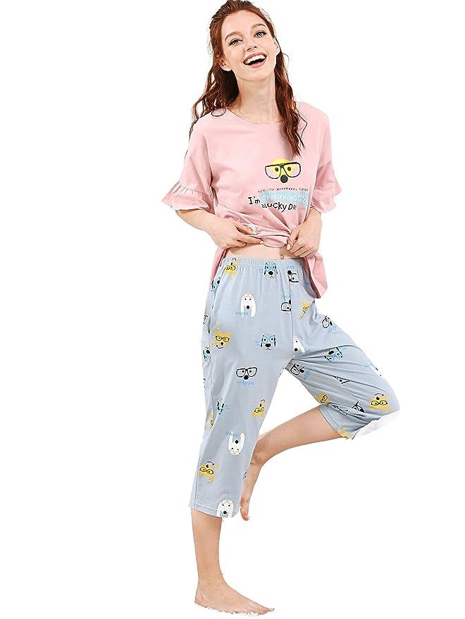 04269965d5 SheIn Women s Cartoon Dog Print Tee   Capri Pants Pajamas Set at Amazon  Women s Clothing store
