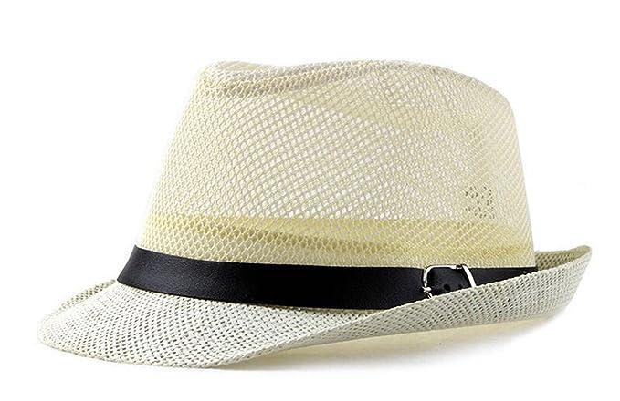 8afaddec00e64 Classic Mens Panama Straw Hat Summer Outdoor Tourist Beach Cap Sun Hat  (Beige)  Amazon.co.uk  Clothing