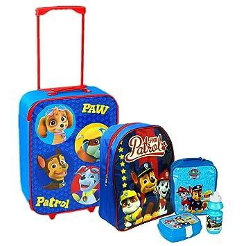 Nickelodeon, Patrulla Canina - Juego de maleta con ruedas, mochila escolar y bolsa para el almuerzo, azul, Luggage: Amazon.es: Hogar