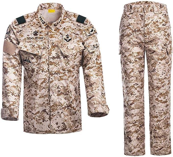 QAZW Ropa táctica Táctico Camisa Ejército Hombres Militar Camisa Ropa táctica Táctico Traje de Entrenamiento Militar de los Hombres Chaqueta + Pantalones Beige-L: Amazon.es: Hogar