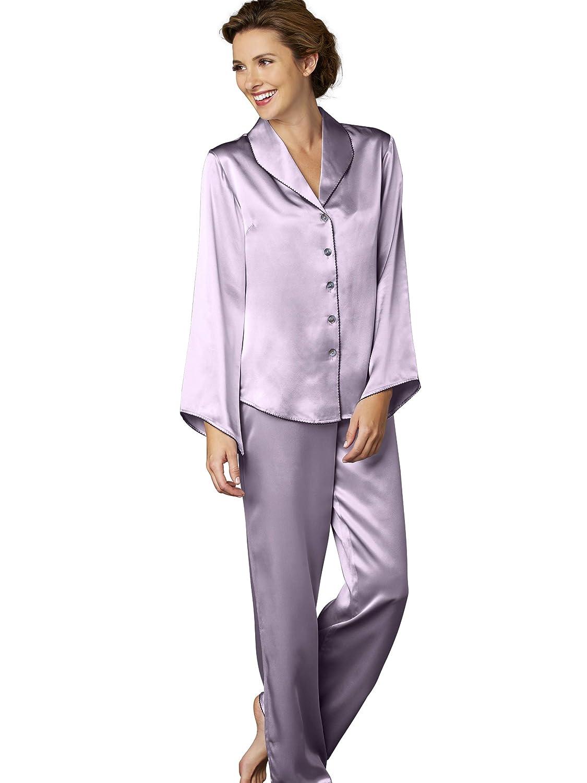 Amethyst Julianna Rae Women's 100% Silk Pajama, Glamgoldus Bell Sleeves, Flat Front Pant, Devon