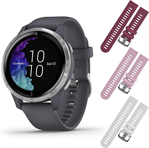 Garmin Venu GPS Smartwatch with AMOLED Display and Included Wearable4U 3 Straps Bundle Granite Blue Silver, Berry Pink White