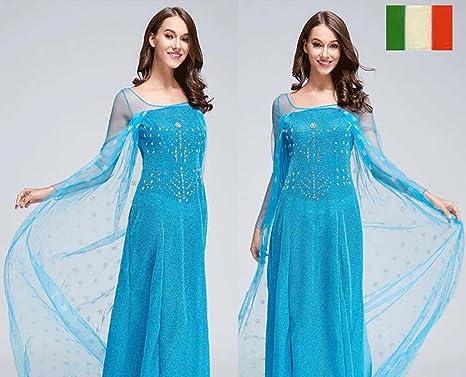 CUTEHILL - Disfraz de Elsa de Frozen (vestido + peluca + copitos de nieve)