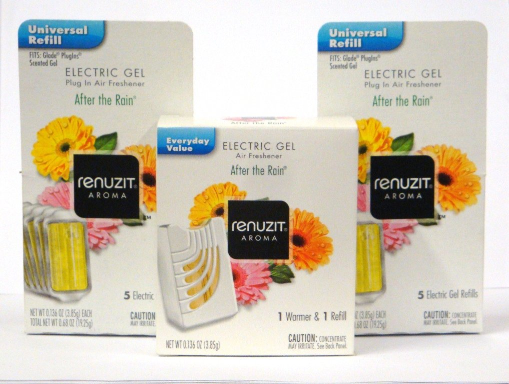 Renuzit Electric Gel After the Rain Air Freshener Warmer, and 11 Refills