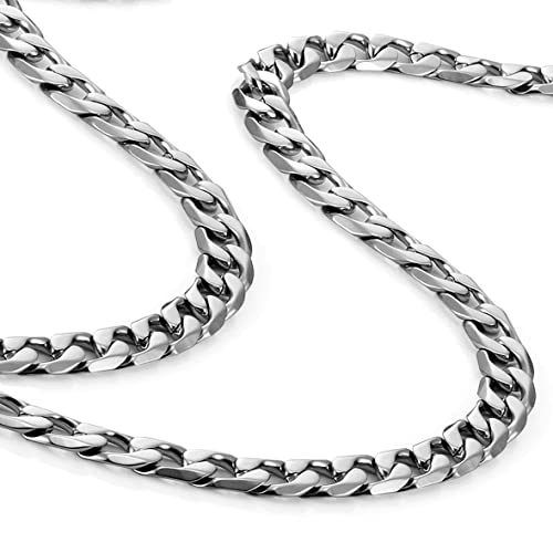 Urban-Jewelry Clásica Collar de Hombre Acero Inoxidable 316L Plata Cadena de Color 46, 54, 59 cm, (6 mm)