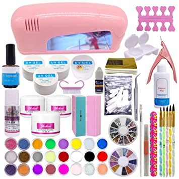 Amazon.com: Warm Girl Full UV Nail Acrylic Nail Art Kits 9W Pink UV ...