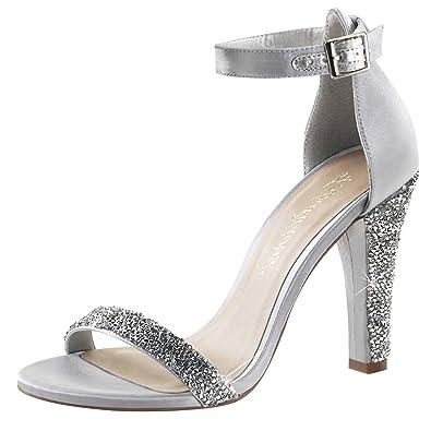 High Heels Sandalette Damen Silber (silber)