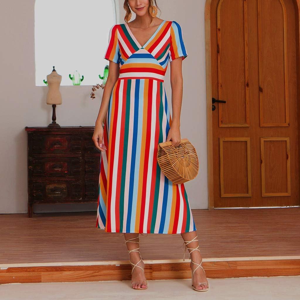 Swiusd Womens Flowy Cotton Linen Maxi Dresses Short Sleeve V Neck Swing Dress Retro Beach Party Sun Dresses Clearance