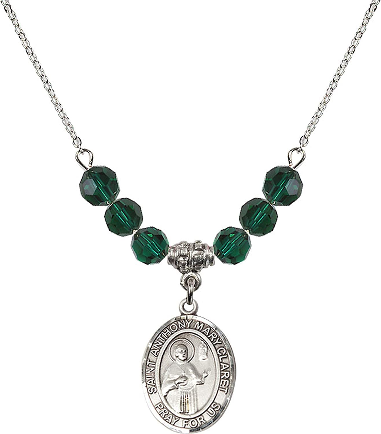 Bonyak Jewelry 18 Inch Rhodium Plated Necklace w// 6mm Green May Birth Month Stone Beads and Saint Anthony Mary Claret Charm