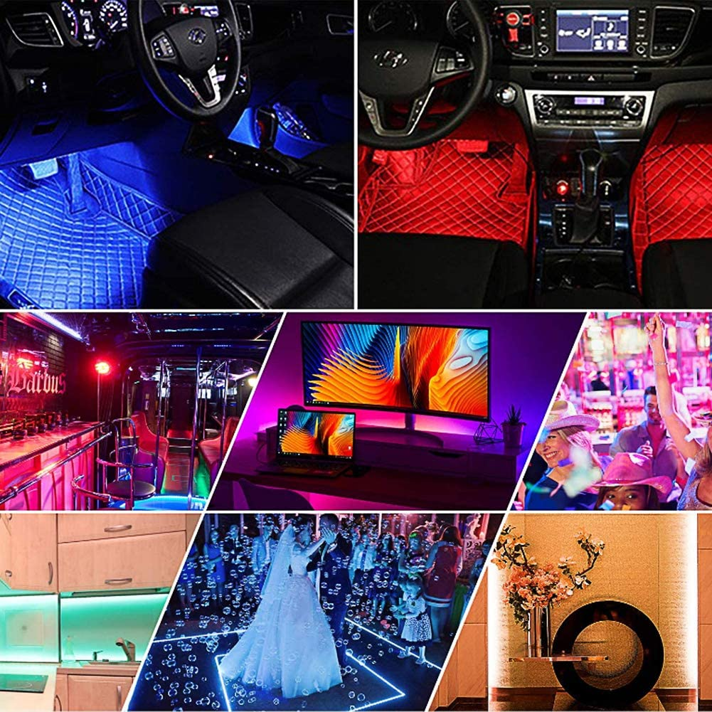 DC 12V Multi DIY Color Music Under Dash Car Lighting with Car Charger 4pcs 48 LED App Controller Lighting Kits Car LED Strip Light IP65 Waterproof DYTesa Car Interior Lights