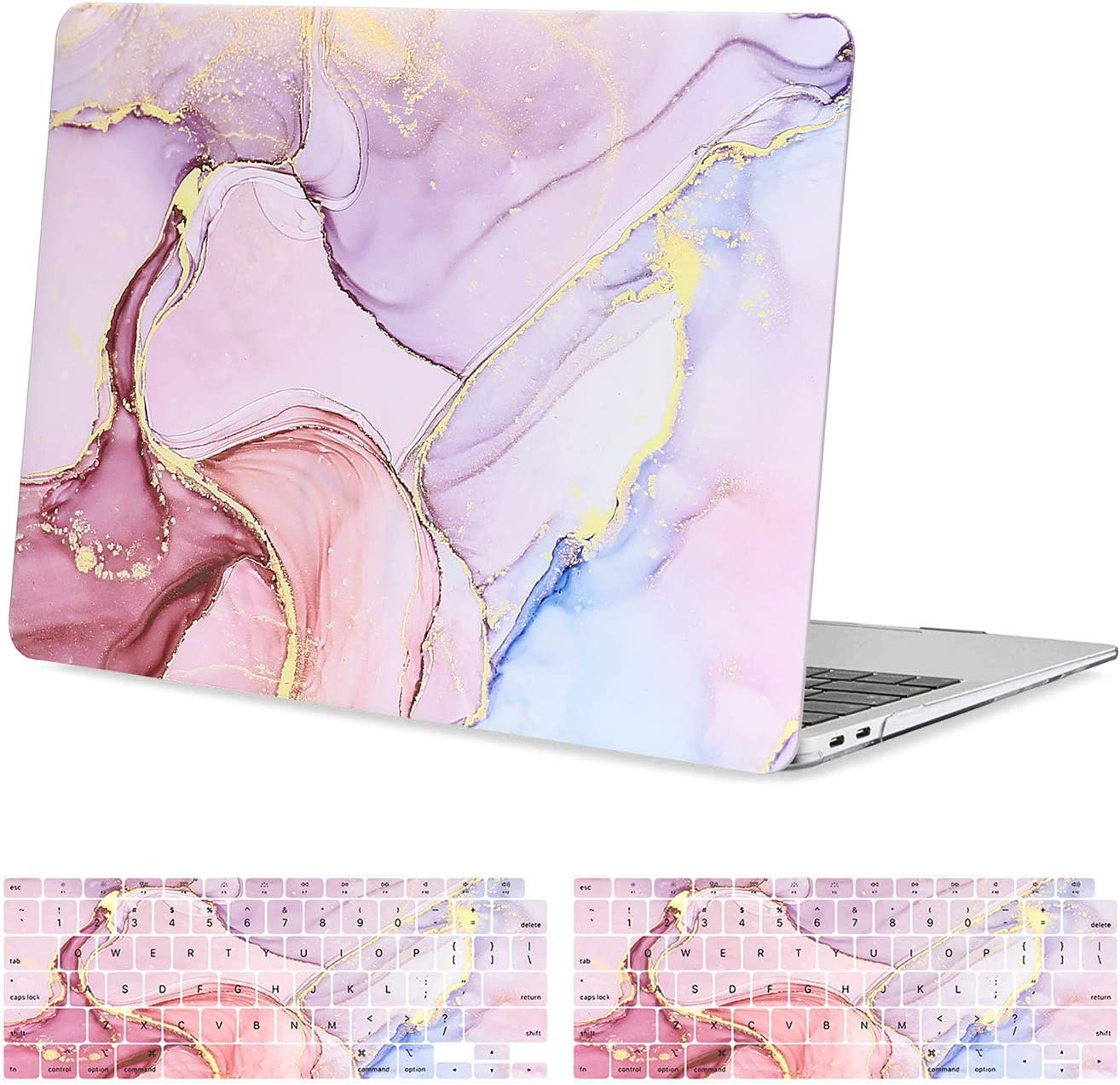 MOSISO MacBook Air 13 inch Case 2020 2019 2018 Release A2179/A1932, Plastic Hard Shell, Keyboard Cover Skin Compatible with MacBook Air 13 inch with Retina Display & Touch ID, Pink Ink Marble