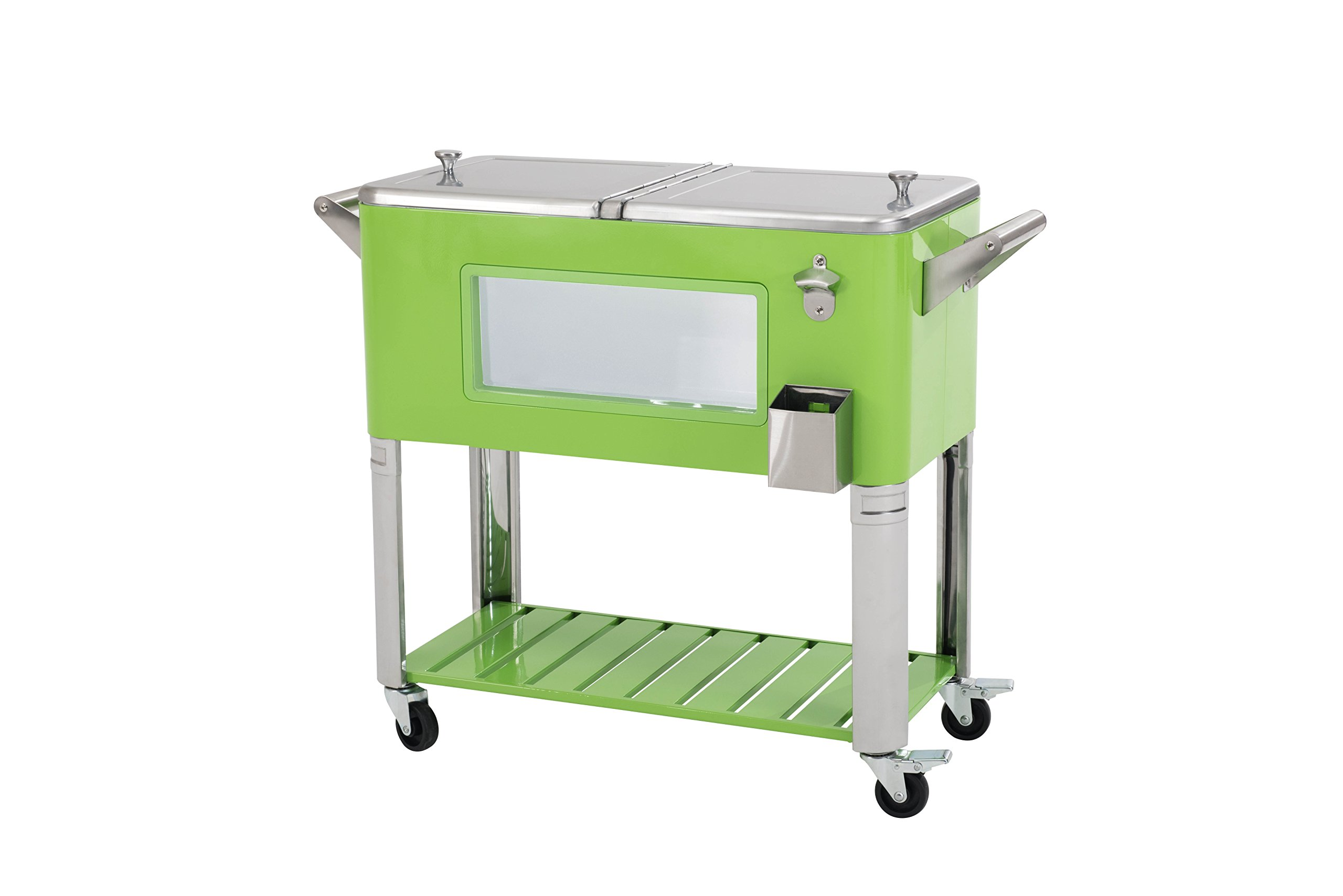 Sunjoy 80 Qt Patio Cooler with LED Lights-green, green by sunjoy