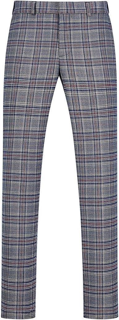 Amazon Com Pantalones De Vestir De Cuadros Para Hombre Slim Fit Recto Casual Plano Frontal Plano A Cuadros Pantalones De Vestir Clothing