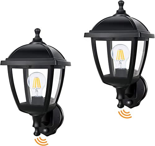 FUDESY 2-Pack Motion Sensor Outdoor Wall Lanterns,Corded-Electric Plastic Porch Light Fixture