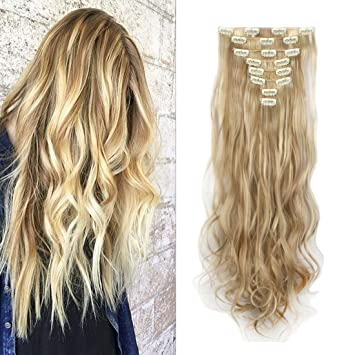 Amazon fashion soft florata hair extensions 2461cm long fashion soft florata hair extensions 24quot61cm long wavy curly 18 clips 8 pmusecretfo Image collections