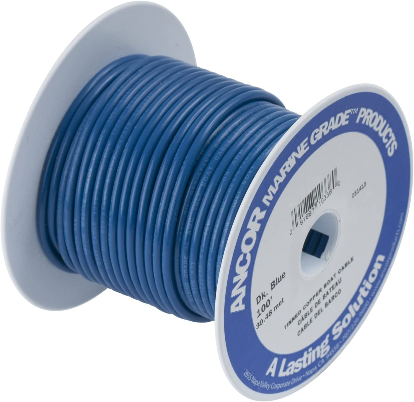 Ancor 184103 Marine Grade Electrical Primary Tinned Copper Boat Wiring 14-Gauge, Dark Blue, 18-Feet