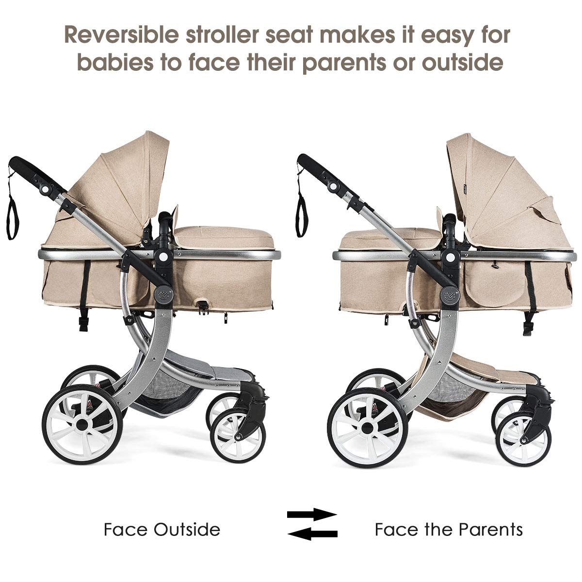 BABY JOY Baby Stroller, 2-in-1 Convertible Bassinet Sleeping Stroller, Foldable Pram Carriage with 5-Point Harness, Including Rain Cover, Net, Cushion Pad, Foot Cover, Diaper Bag Beige