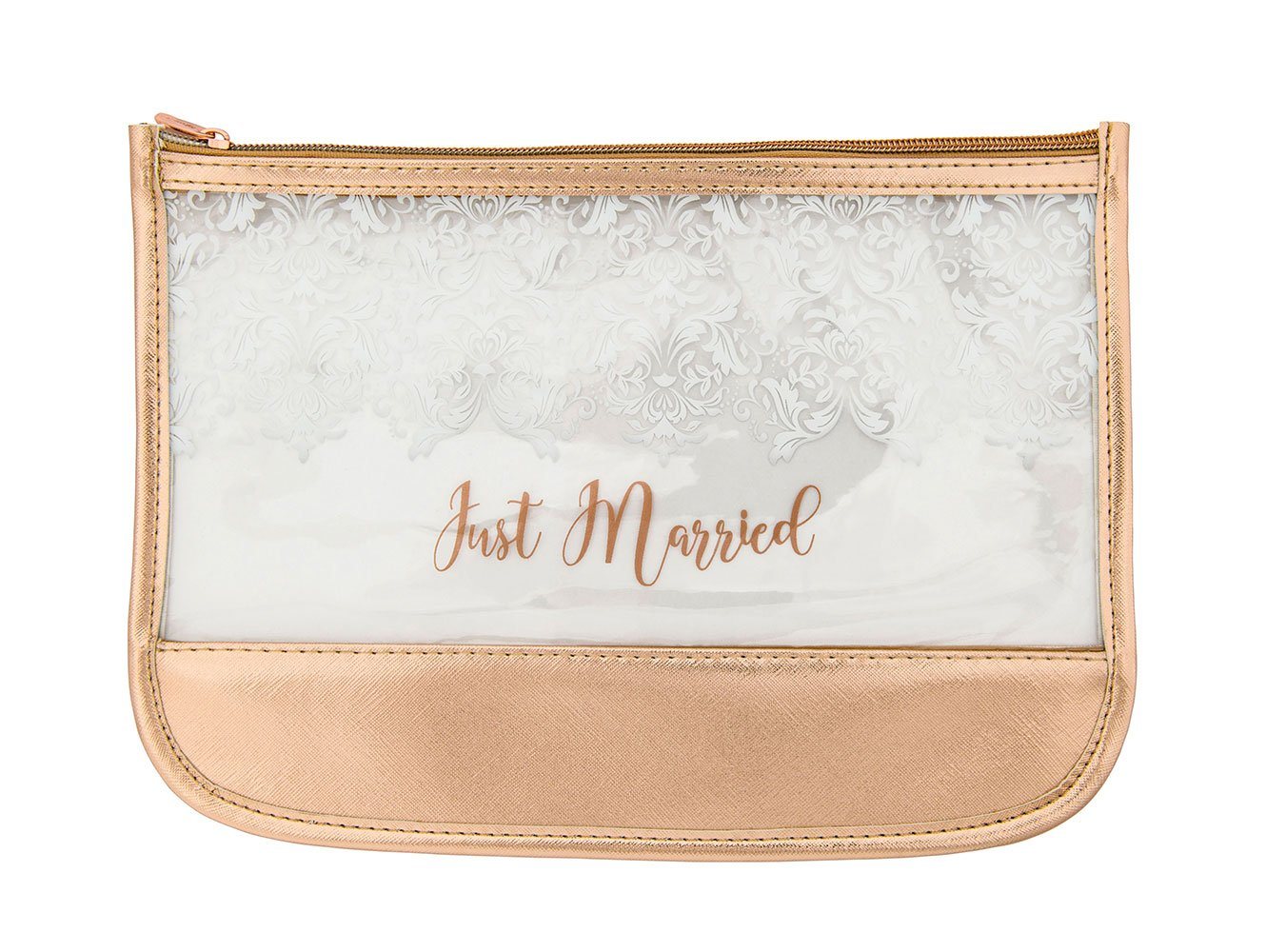 Miamica Women's Just Married Bridal Pouch Or Beach Bag and Totes, Rose Gold