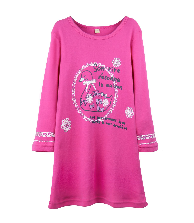 HOYMN - Camicia da notte - Stampa animali - Collo a U - Maniche lunghe - ragazza