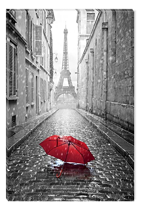 Inspirational Art Black and White Red Umbrella on the Street Canvas Wall Art Abstract Picture Eco