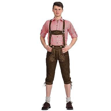 Costume kniebundhose pantalon pour homme avec bretelles en cuir marron  clair ziegenveloursleder taille 46 60  Amazon.fr  Vêtements et accessoires c7f311d1402