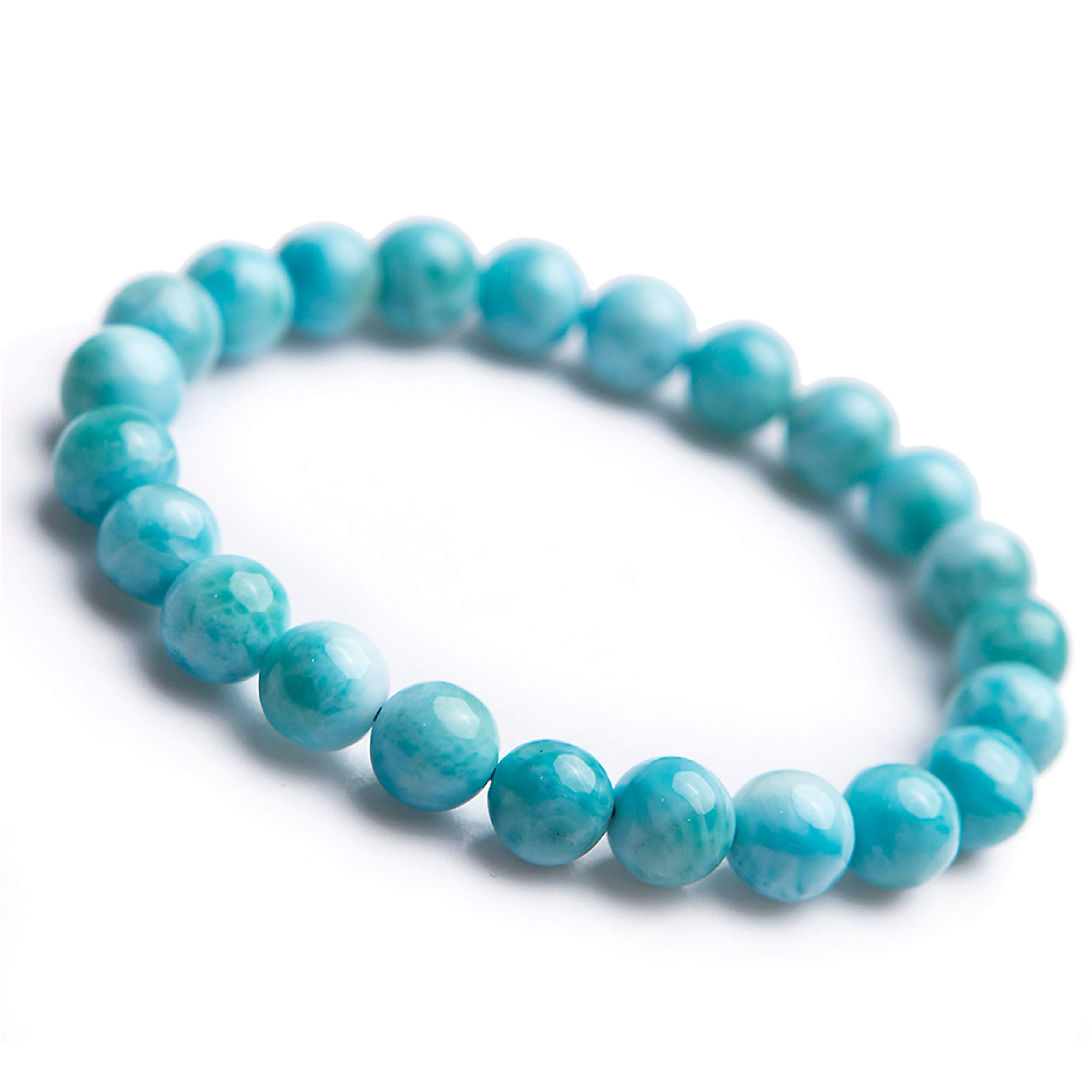 LiZiFang 8mm Genuine Natural Blue Larimar Gemstone Crystal Round Bead Bracelet