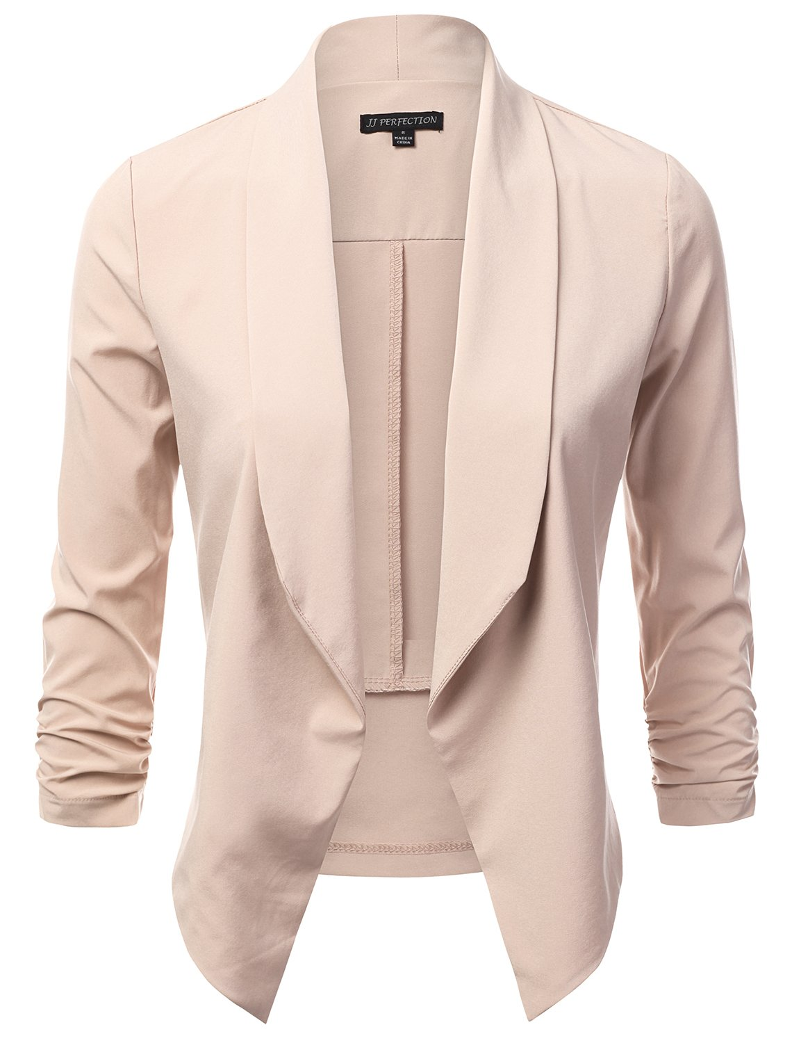 JJ Perfection Women's Lightweight Chiffon Ruched Sleeve Open-Front Blazer Beige S