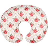 Minky Nursing Pillow Cover/Nursing Pillow Slipcover for Girls Soft Fits Snug On Infant Nursing Breast Feeding Pillows (White, Classic Roses)