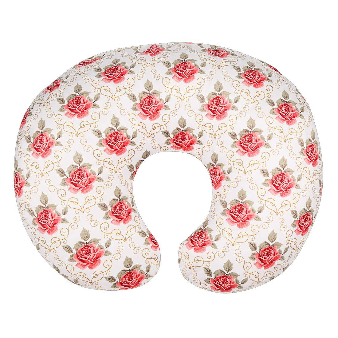 Minky Nursing Pillow Cover/Nursing Pillow Slipcover for Girls Soft Fits Snug On Infant Nursing Breast Feeding Pillows (White, Classic Roses) by IBraFashion
