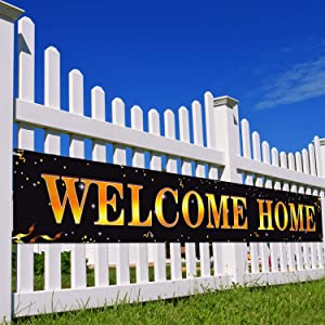 Large Welcome Home Banner Oxford Cloth Hanging Banner Sign Homecoming Return Home Decoration for Party Ornament Display, 1.6 x 9.8 Feet